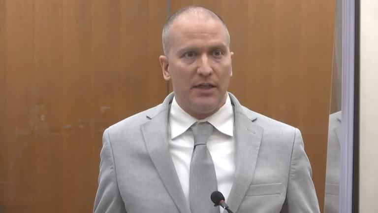 In this image taken from video, former Minneapolis police Officer Derek Chauvin addresses the court as Hennepin County Judge Peter Cahill presides over Chauvin's sentencing, Friday, June 25, 2021, at the Hennepin County Courthouse in Minneapolis. (Court TV via AP, Pool)