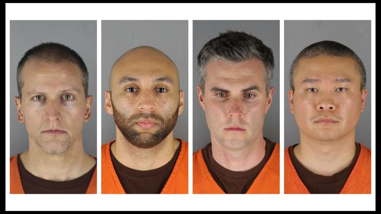 This combination of photos provided by the Hennepin County Sheriff's Office in Minnesota on Wednesday, June 3, 2020, shows from left, former Minneapolis police officers Derek Chauvin, J. Alexander Kueng, Thomas Lane and Tou Thao. (Hennepin County Sheriff's Office via AP File)