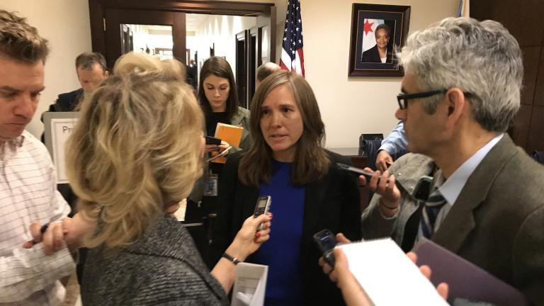Presumptive Chicago Department of Transportation Commissioner Gia Biagi speaks with reporters at City Hall after the City Council's Transportation Committee advanced her nomination on Tuesday, Jan. 7, 2020. (Nick Blumberg / WTTW News)