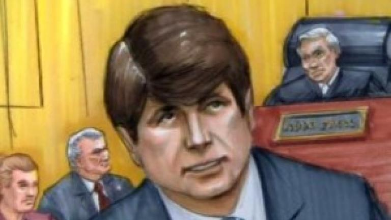 Courtroom sketch of Rod Blagojevich by Tom Gianni