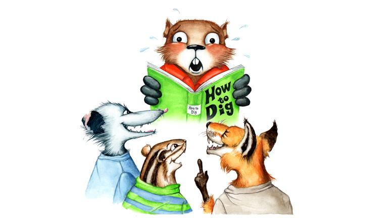"""Regina McCarthy's book """"Courageous Gilbert the Groundhog"""" teaches children to understand and express their feelings and offers tips for dealing with a bully. (Illustration by Sue Dettman)"""