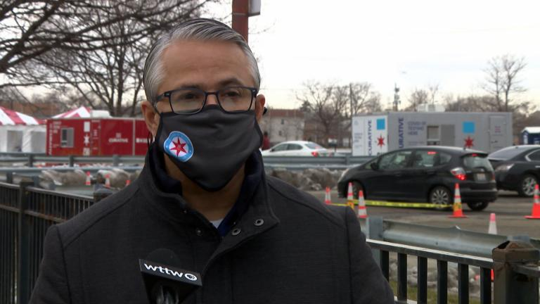 "Ald. Gilbert Villegas, 36th Ward, speaks with ""Chicago Tonight"" in Belmont Cragin as part of our In Your Neighborhood series on Jan. 7, 2021. (WTTW News)"