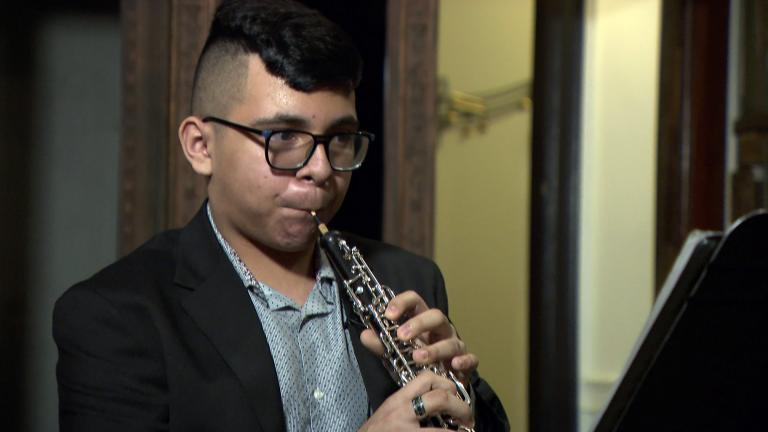 Little Village resident and Chicago Musical Pathways Initiative student fellow Giovani Ibarra said he has been playing the oboe since 3rd grade, Feb. 1, 2021. (WTTW News)
