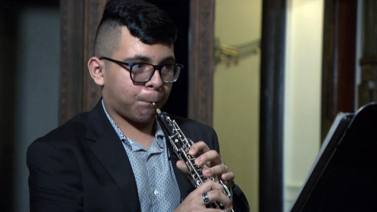 Giovani Ibarra, 14, of Little Village, performs Camille Saint-Saens' Oboe Sonata in D Major on Feb. 1, 2021. (WTTW News)