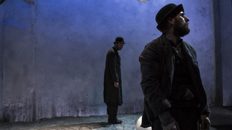 "Marty Rea as Vladimir and Aaron Monaghan as Estragon in Druid theatre company's ""Waiting for Godot"" at Chicago Shakespeare Theater. (Photo by Matthew Thompson)"