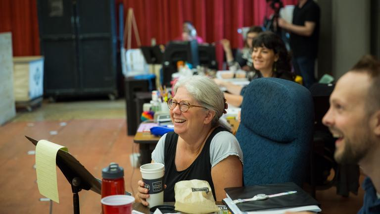 "Director Mary Zimmerman leads a rehearsal for ""Wonderful Town,"" on stage at Goodman Theatre Sept. 10 through Oct. 16, 2016. (Liz Lauren / Goodman Theatre)"