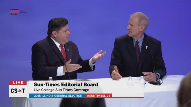 JB Pritzker, left, and Gov. Bruce Rauner appear in a debate before the Chicago Sun-Times editorial board Tuesday, Oct. 9, 2018.