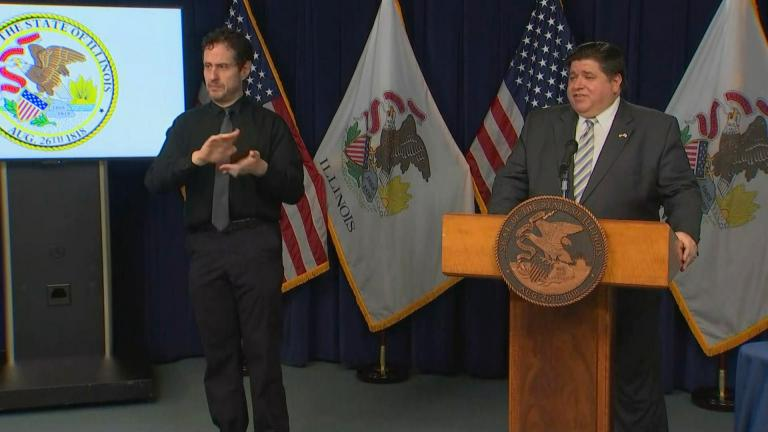 Gov. J.B. Pritzker delivers his daily press briefing about the coronavirus in Illinois on Monday, Nov. 9, 2020. (WTTW News)