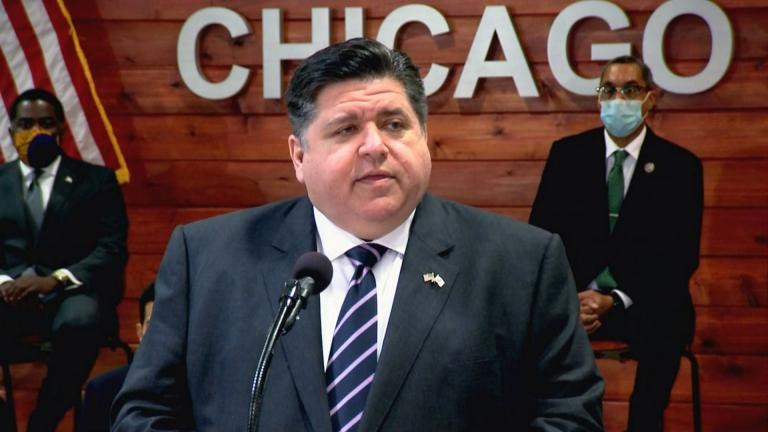 Gov. J.B. Pritzker speaks Monday, Feb. 22, 2021 at a bill-signing ceremony for a massive criminal justice reform bill. (WTTW News)