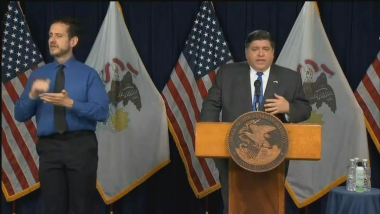 Gov. J.B. Pritzker outlines a new plan that would trigger additional coronavirus restrictions on Wednesday, 15, 2020. (WTTW News)