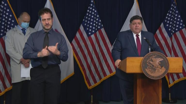 Gov. J.B. Pritzker gives an update on the coronavirus in Illinois on Tuesday, Oct. 20, 2020. (WTTW News)