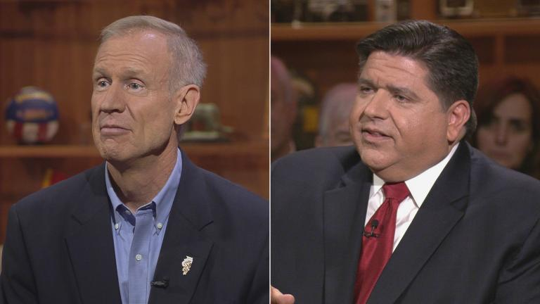 "Gov. Bruce Rauner and J.B. Pritzker appear on ""Chicago Tonight"" on Aug. 14, 2017 and March 14, 2018, respectively."
