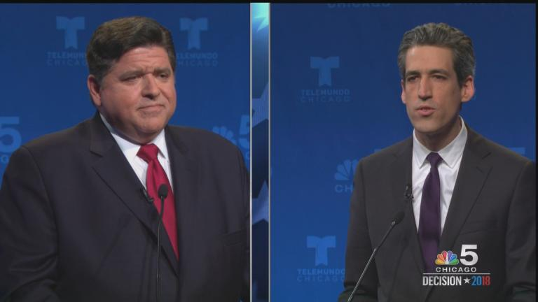 Democratic candidates for governor J.B. Pritzker, left, and state Sen. Daniel Biss, right, spar during Tuesday's debate. (Courtesy of NBC 5)