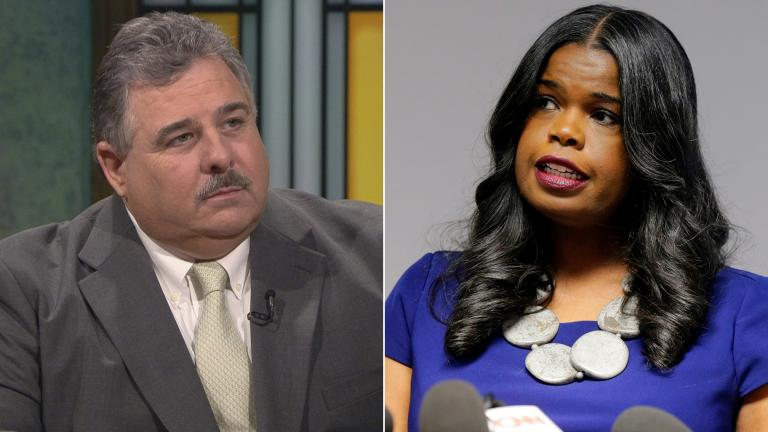 "February 2019 file photos show an appearance by Chicago police union President Kevin Graham on ""Chicago Tonight"" and Cook County State's Attorney Kim Foxx speaking at a news conference in Chicago (AP Photo / Kiichiro Sato)."