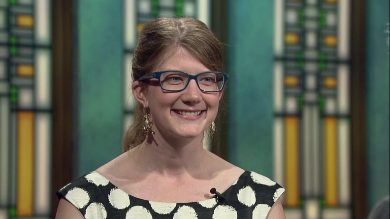 "Emily Graslie appears on ""Chicago Tonight"" in September 2015."