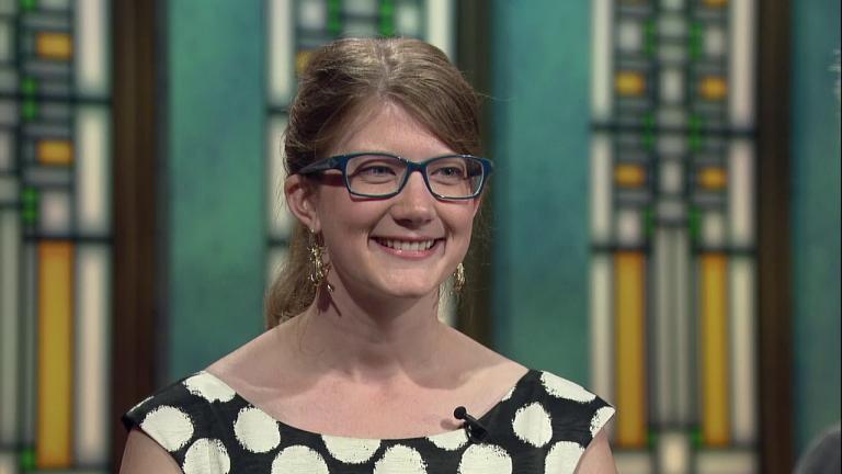 """Emily Graslie appears on """"Chicago Tonight"""" in September 2015."""