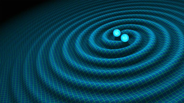 An artist's impression of gravitational waves generated by binary neutron stars. (Credits: R. Hurt / Caltech-JPL)