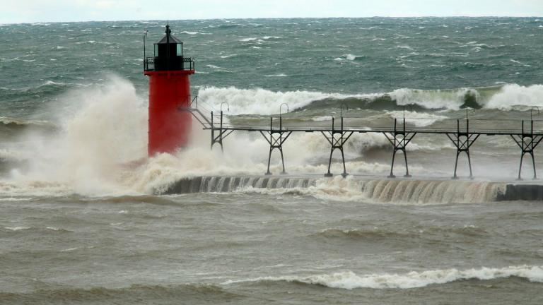 In this April 6, 2017 file photo, strong winds send huge waves at the Lake Michigan shoreline at South Haven Michigan. (Mark Bugnaski / Kalamazoo Gazette via AP, File)