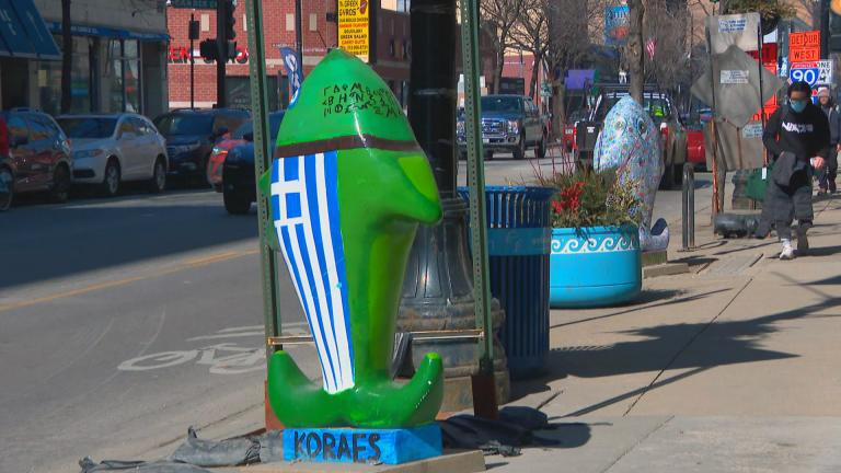 "A scene from the ""Fanciful Fish"" outdoor exhibit along Halsted Street in Greektown. (WTTW News)"