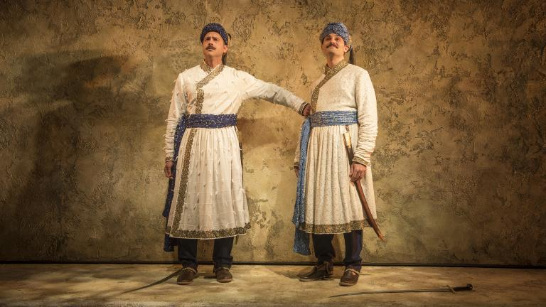 "Omar Metwally and Arian Moayed in Steppenwolf's Chicago premiere of ""Guards at the Taj"" by Rajiv Joseph. (Photo by Michael Brosilow)"