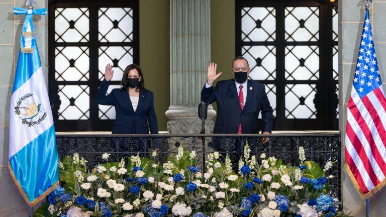 Vice President Kamala Harris and Guatemalan President Alejandro Giammattei, pose for an official photograph, Monday, June 7, 2021, at the National Palace in Guatemala City. (AP Photo / Jacquelyn Martin)