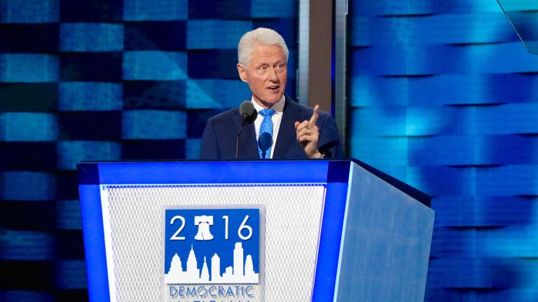 "Former President Bill Clinton speaks on July 26 at the 2016 Democratic National Convention. Clinton recounted the story of meeting his wife, Democratic presidential nominee Hillary Clinton, and exalted her as a ""change maker."" (Evan Garcia / Chicago Tonight)"