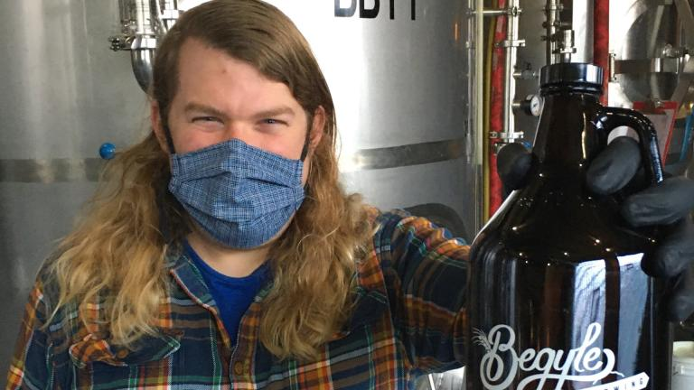 """Begyle Brewing's Kevin Cary is about to lose his """"Thor-like"""" locks, all to benefit The Friendship Center food pantry. (Mike Roach)"""