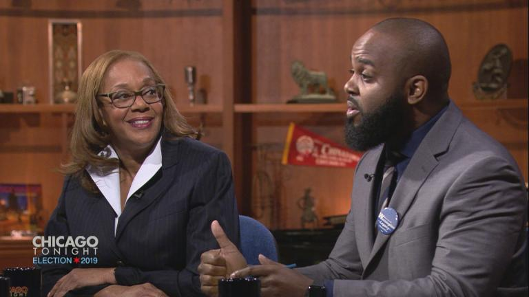 "Aldermanic candidates for the 5th Ward appear on ""Chicago Tonight"" on March 13, 2019: Incumbent Ald. Leslie Hairston and William Calloway."