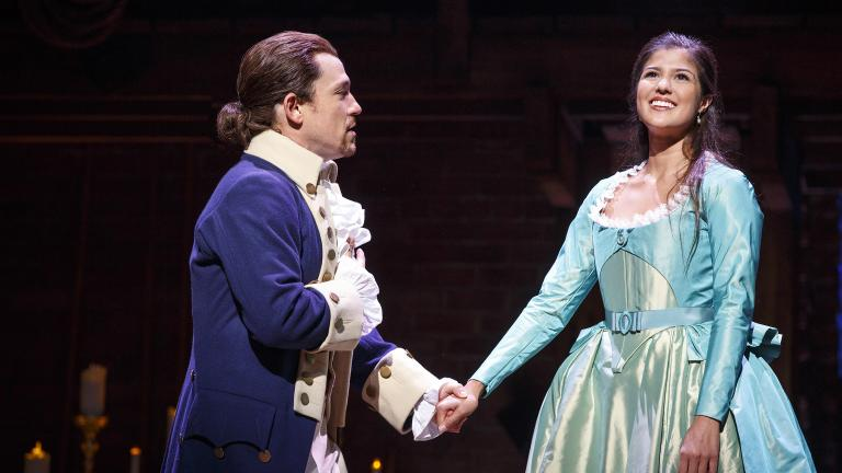 "Miguel Cervantes and Ari Asfar in the Chicago production of ""Hamilton: An American Musical."" (Joan Marcus / Broadway in Chicago)"