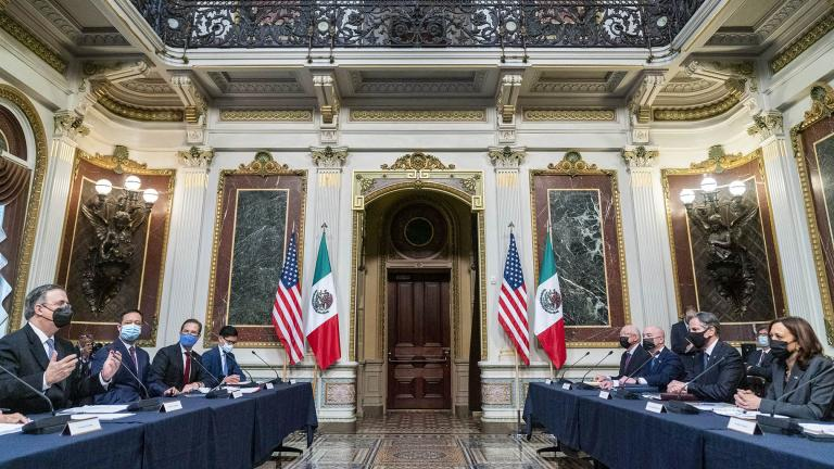 Mexican Foreign Secretary Marcelo Ebrard,, left, accompanied by, Vice President Kamala Harris, right, speaks at a U.S.-Mexico High Level Economic Dialogue meeting in the Indian Treaty Room in the Eisenhower Executive Office Building on the White House Campus in Washington, Thursday, Sept. 9, 2021. (AP Photo / Andrew Harnik)