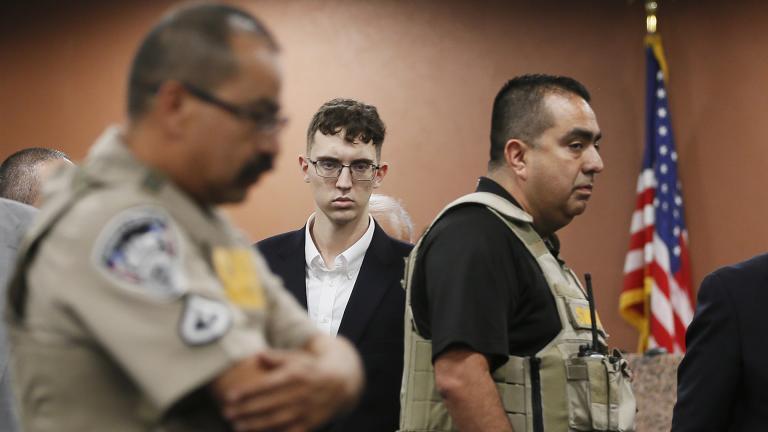 In this Oct. 10, 2019 file photo, El Paso Walmart shooting suspect Patrick Crusius pleads not guilty during his arraignment in El Paso, Texas. (Briana Sanchez / El Paso Times via AP, Pool, File)