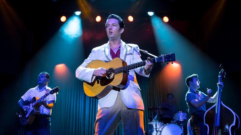 "From left: Matt Codina, Eddie Clendening, Jamie Pittle and Zach Lentino in ""Heartbreak Hotel"" at the Broadway Playhouse. (Credit: Brett Beiner)"