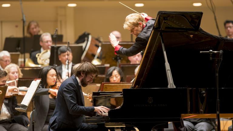 Daniil Trifonov is soloist in Prokofiev's Piano Concerto No. 3 with guest conductor Marin Alsop and the CSO. (© Todd Rosenberg)