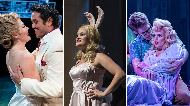 """From left: """"Sweet Charity,"""" """"Legally Blonde"""" and """"Little Shop of Horrors."""" (Photo credit, from left: Justin Barbin, Liz Lauren, Brett Beiner)"""