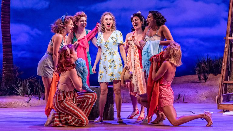 """Samantha Hill, center, as Nellie in """"South Pacific"""" at Drury Lane Oakbrook Theatre. (Photo by Brett Beiner)"""