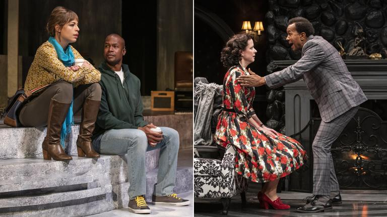 "Left: Cassidy Slaughter-Mason and Sean Parris in ""How a Boy Falls."" Right: Kate Fry and Allen Gilmore in ""The Mousetrap."" (Photos by Michael Brosilow)"