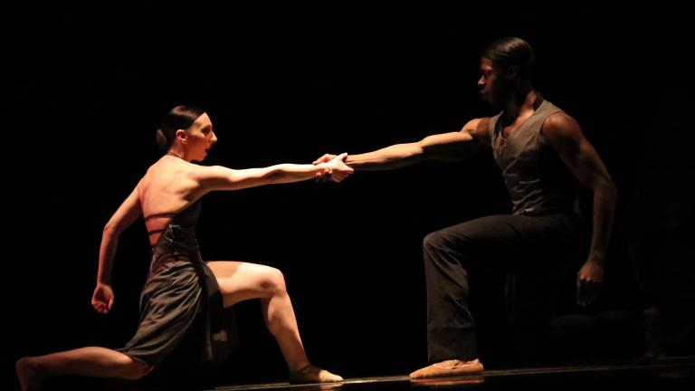 "Dancers Maeghan McHale and Devin Buchanan in Brock Clawson's ""Give and Take"" (2009). (Photo by Reveuse Photography)"