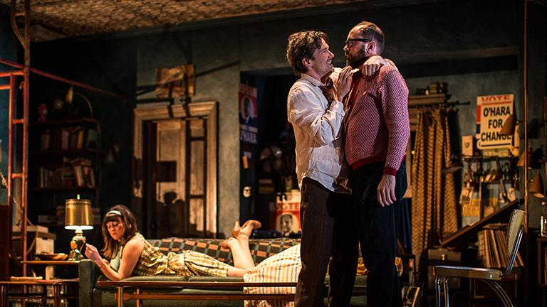 "Kristen Magee (Gloria), Chris Stack (Sidney Brustein) and Grant James Varjas (David) in ""The Sign in Sidney Brustein's Window"" by Lorraine Hansberry. (Courtesy of Goodman Theatre)"