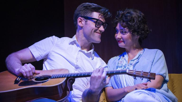 "Zachary Stevenson and Molly Hernandez in ""Heartbreak Hotel"" at the Broadway Playhouse. (Credit: Brett Beiner)"
