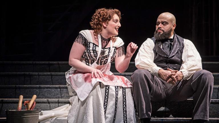 """Paul-Jordan Jansen and Bri Sudia in Paramount Theatre's """"Sweeney Todd-The Demon Barber of Fleet Street."""" (Liz Lauren / Paramount Theatre)"""
