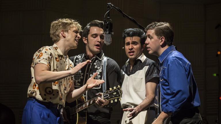 """Million Dollar Quartet"" stars, from left: Gavin Rohrer as Jerry Lee Lewis, Bill Scott Sheets as Johnny Cash, Kavan Hashemian as Elvis Presley and Adam Wesley Brown as Carl Perkins. (Credit: Liz Lauren)"
