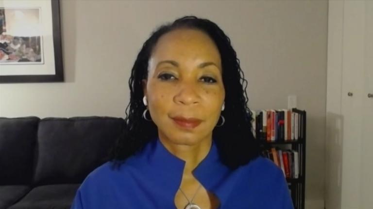"""Dr. Helene Gayle appears on """"Chicago Tonight"""" via Zoom on Tuesday, Oct. 20, 2020. (WTTW News)"""