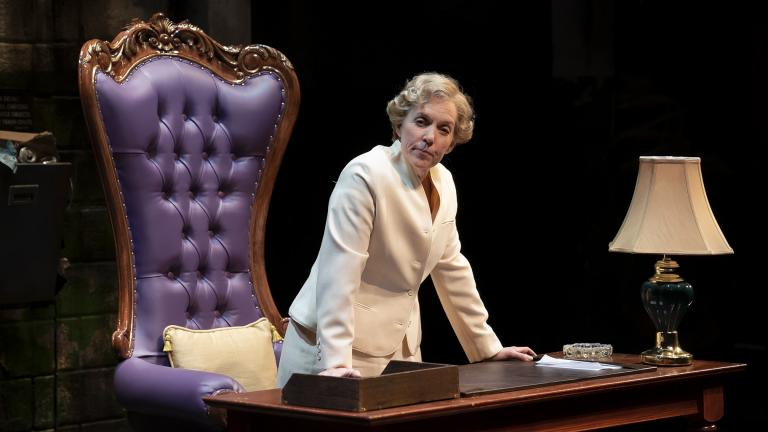"Ensemble member Christine Mary Dunford in ""Her Honor Jane Byrne."" (Photo by Liz Lauren)"
