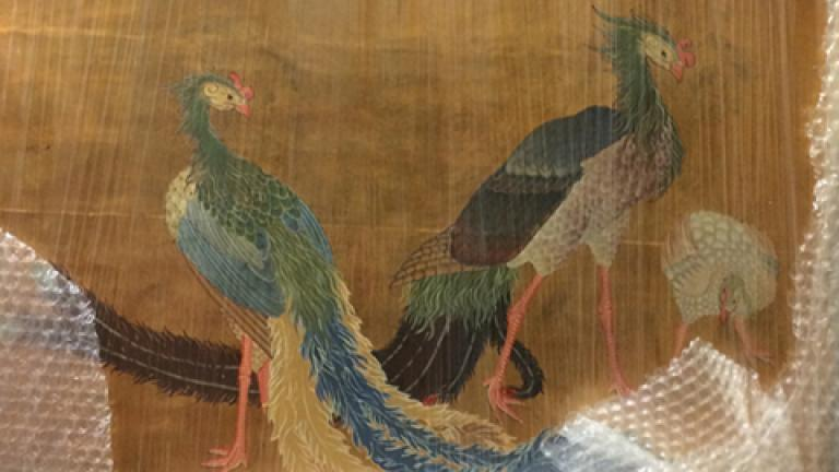 Three original Japanese sliding door paintings from the 1893 World's Columbian Exposition were discovered in a Park District storage facility (Photo c/o city of Chicago)