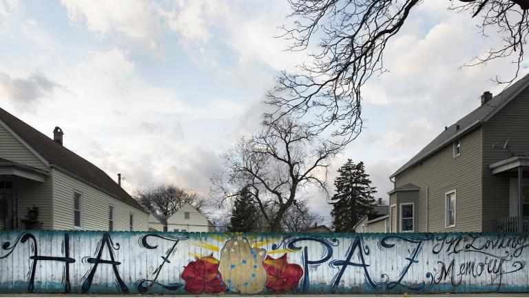 """A mural memorial in South Lawndale is part of the exhibition """"Not Forgotten: Chicago Street Memorials."""" (Courtesy of Thomas Ferrella)"""