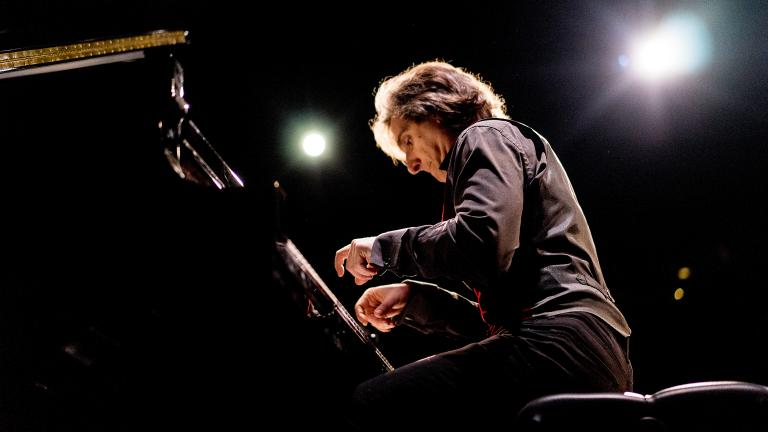 """Hershey Felder in """"Our Great Tchaikovsky"""" at Steppenwolf Upstairs Theatre."""