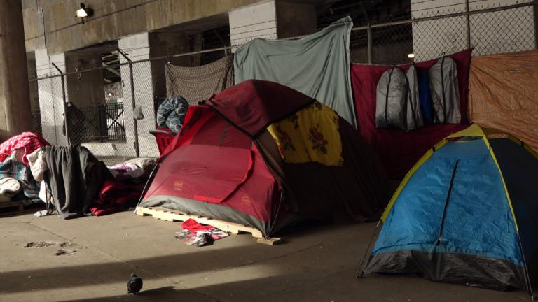 A homeless encampment in Chicago. (WTTW News)