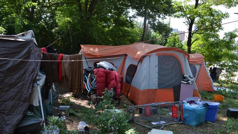 Tents set up in a homeless encampment along DesPlaines Street north of Roosevelt Road. (Kristen Thometz / Chicago Tonight)