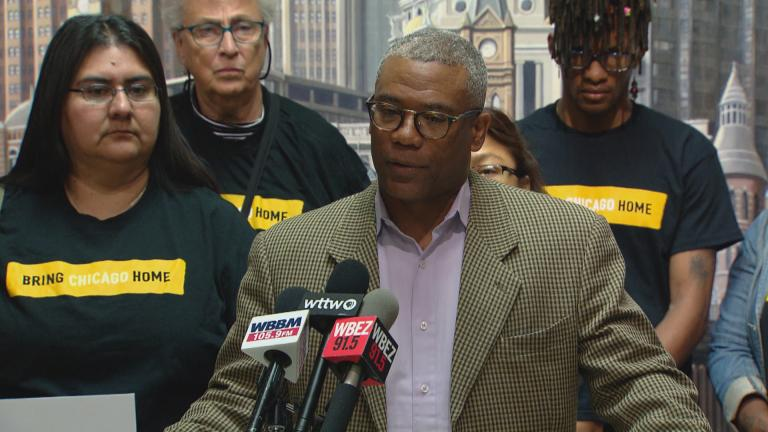 Ald. Walter Burnett, 24th Ward, speaks at a press conference about homelessness among Chicago Public Schools students on Thursday, Sept. 5, 2019. (WTTW News)