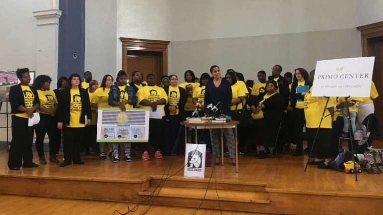 Chicago Department of Family and Support Services Commissioner Lisa Morrison Butler on April 20 announces the city's $1 million commitment to housing 100 homeless families. (Maya Miller / Chicago Tonight)
